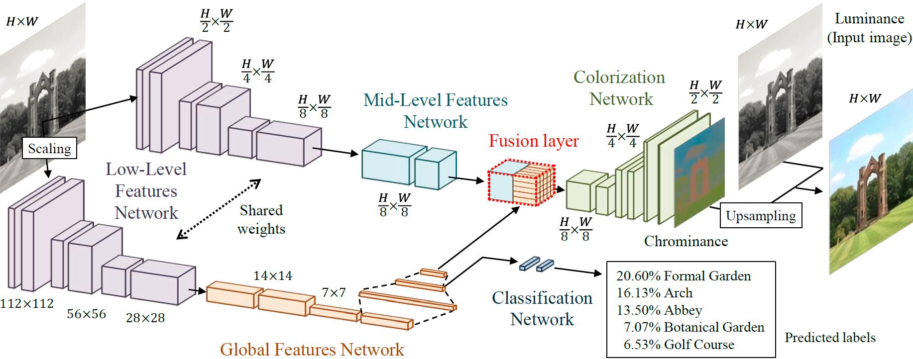 ディープネットワークを用いた大域特徴と局所特徴の学習による色付けのモデル構造