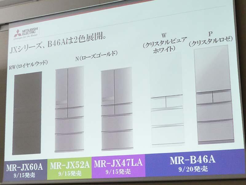 「JXシリーズ」はMR-JX60A、MR-JX52A、MR-JX47LAの3機種。「Bシリーズ」は、MR-B46Aの1機種のみとなる