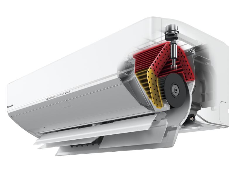 異なる2つの温度を作る「ダブル温度熱交換器」と、「マルチ・ビッグフラップ」「マルチ・ルーバー」を搭載したことで、温度の異なる2つの温風を同時に吹き分ける