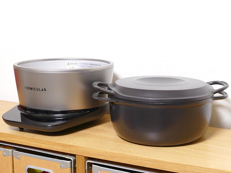 専用鍋(右)と新開発のIHヒーターは分離する。オールメイド・イン・ジャパンだ