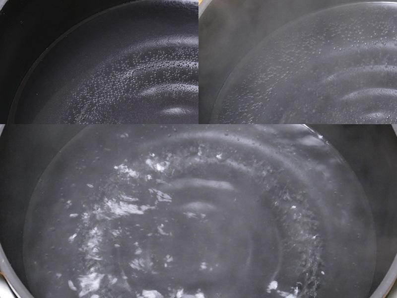 水を入れて沸騰させてみた。鍋底だけでなく側面からも熱されているのがわかる(上)。リブに沿って沸騰している。ヒーターの側面は温かくなる程度だった