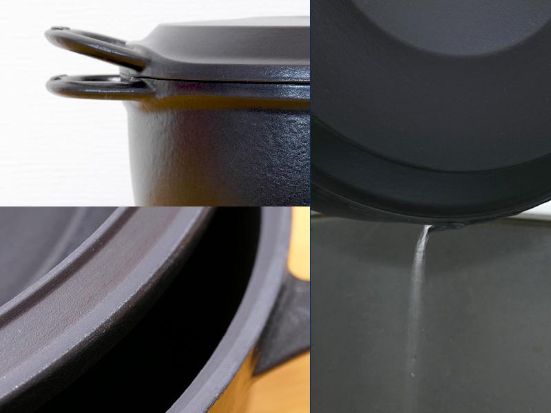 鍋とフタは密閉性が高い。水を入れて傾けてもチョロチョロとしが流れないほど
