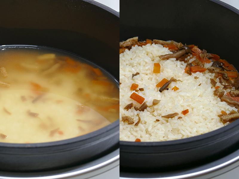 3カップのお米に同量の水を入れ、釜飯の素を入れて炊き上げた。具材が炊飯中の対流によって側面へ押しやられているのがわかる
