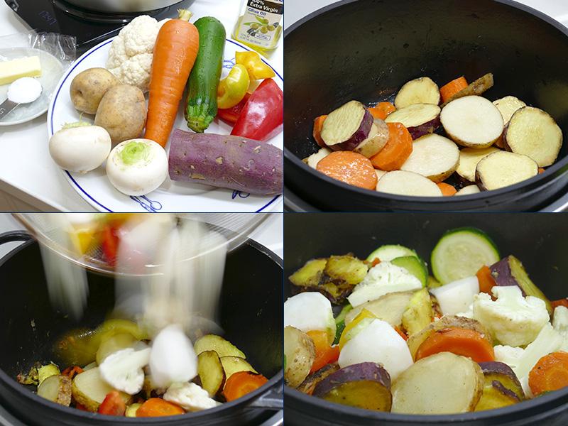 揃えた材料(左上)。にんじん、じゃがいも、さつまいもを先に10分弱火で無水調理する(右上)。残りの野菜を入れ、続けて20分無水調理する。バターを加えて混ぜたら完成だ