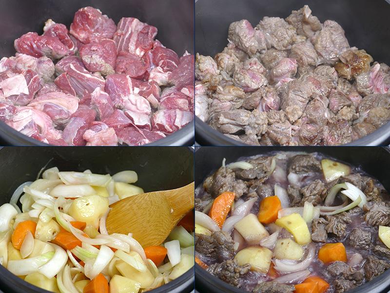 バターを入れ、中火でスネ肉を焼き上げる(上)。肉を一旦外して、ブロッコリーとマッシュルーム以外を炒める(左下)。たまねぎがしんなりしたら、赤ワインを400ml入れて、弱火で10分ほど煮る