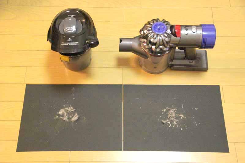 キャニスター掃除機で取れたゴミ(左)。その後にアニマルプロで掃除したらさらにゴミが取れた(右)