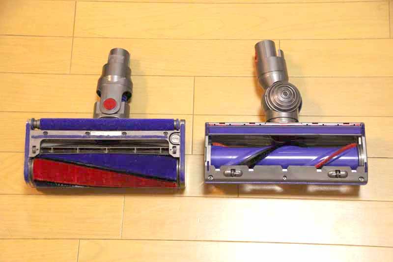 左のV6 Fluffyモデルに備える「ソフトローラークリーナーヘッド」は全体がブラシに覆われている。右のダイレクトドライブクリーナーヘッドは、細いブラシが巻かれているような状態