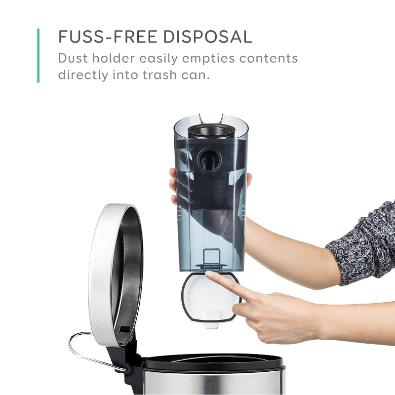 ダストカップ容量は約0.9L。手を汚さずゴミ捨てできるという