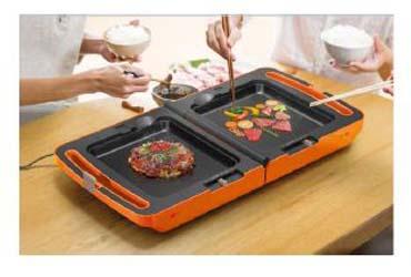 2種類の料理が同時に楽しめる「両面ホットプレート DPO-133」の新色としてオレンジとホワイトを追加する