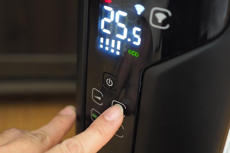 本体の操作で温度を上げたり下げたりするのは、少し面倒くさい