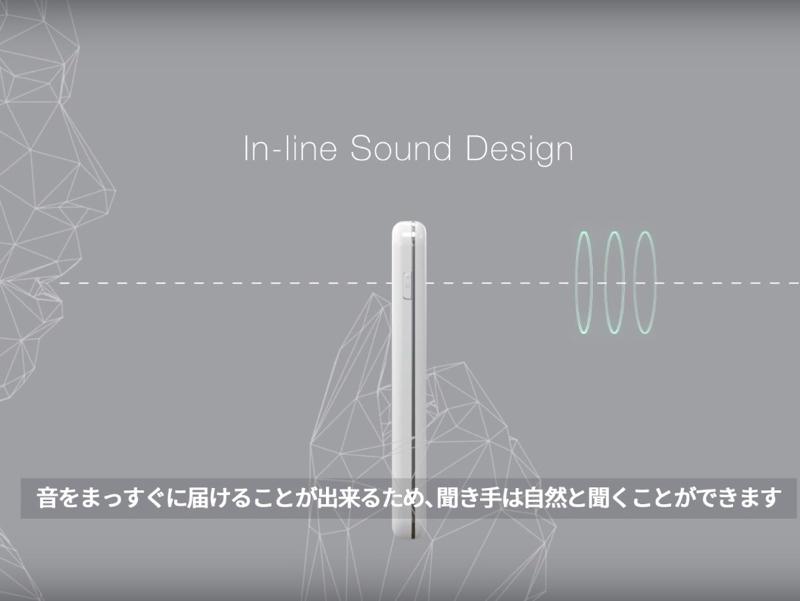 マイク位置(声の入力)と、スピーカーの位置を一直線に配置したことで、聞く相手が違和感なく話を聞ける