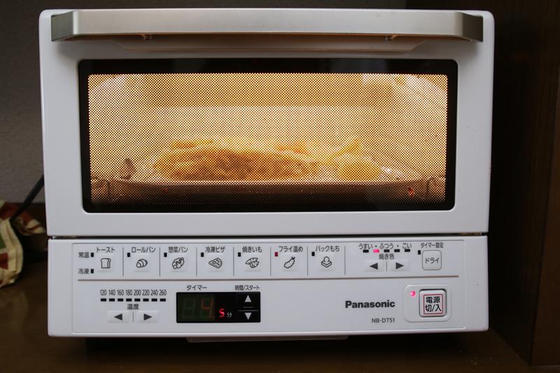 「フライ温め」で「焼き色」を薄めにすると、庫内の温度を微調整して温めてくれる
