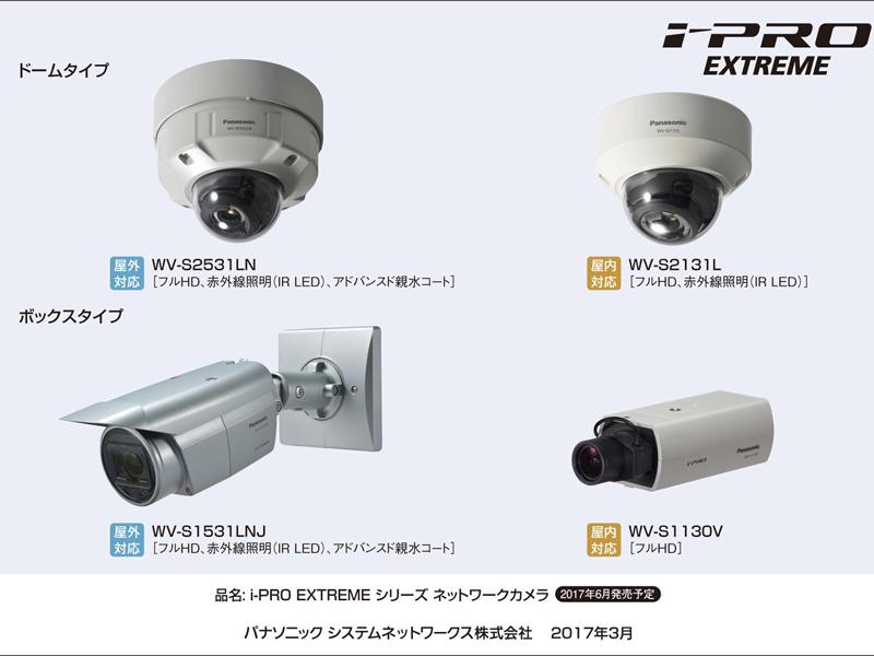 屋外・屋内用、フルHD対応など様々なネットワークカメラを展開する