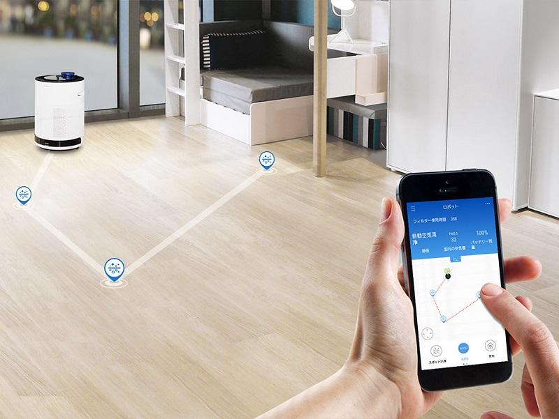 スマートフォンで空気の状態のチェックや操作が可能