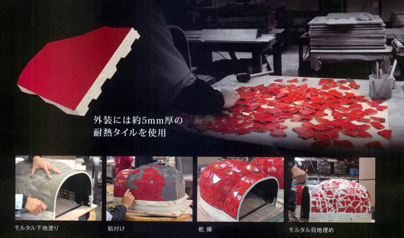 タイルは岐阜県・多治見で職人さんが1枚1枚手貼りして、保温構造の外殻を作る。触っても熱くない秘密はここにある