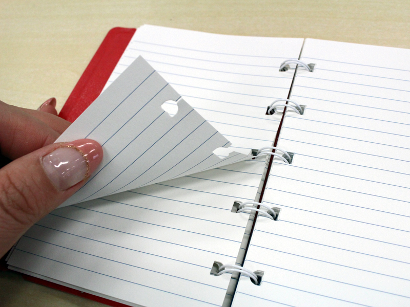 ノートに切れ目があるので、リングを外す必要がない