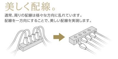 ケーブルの受け口を側面に配置したため、すっきり配線できる