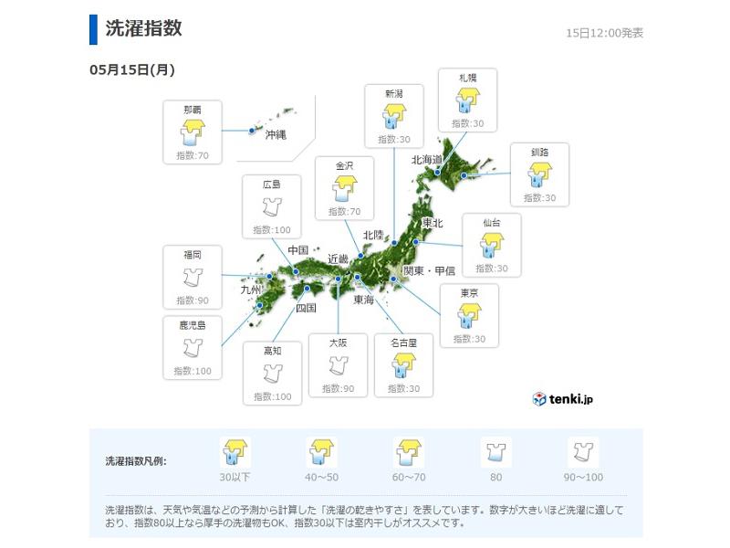 「tenki.jp」内の洗濯指数アイコンが部屋干し仕様に