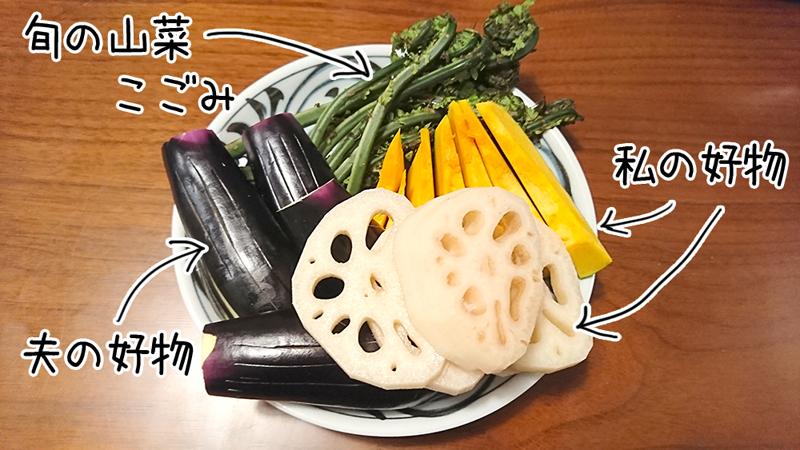 天ぷらの具材は好きな野菜たち