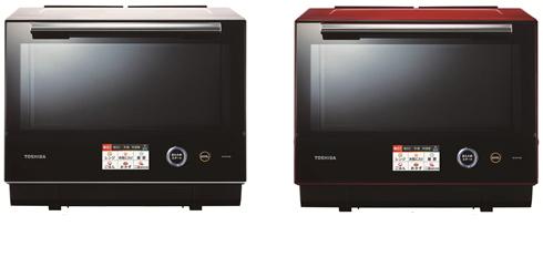 過熱水蒸気オーブンレンジ「石窯ドーム ER-RD7000」。左からグランホワイト、グランレッド