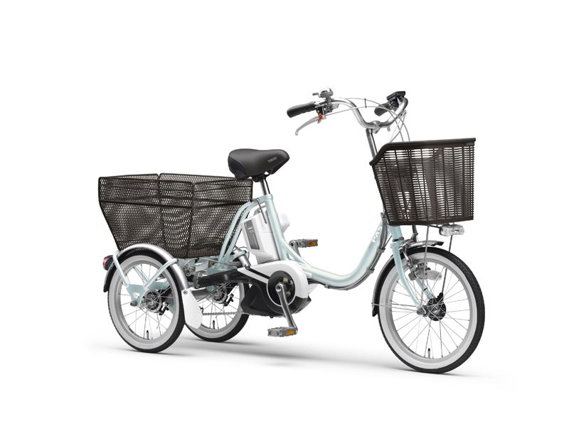 身長142cmから乗れる低重心・低サドルの三輪電動アシスト自転車「PAS ワゴン」。オパールブルー