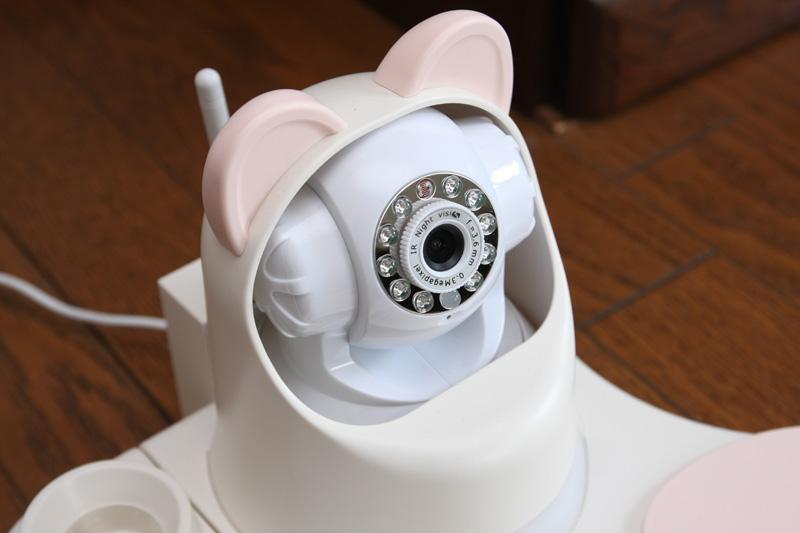 カメラのまわりについているのは、LEDライトと赤外線LEDライト。真っ暗な部屋でも、白黒の赤外線映像が見られる