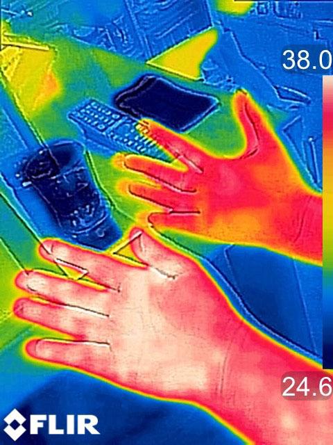 男性の手と女性の手の温度を見たところ。この場合、女性の手のほうが温度が低いことがわかります。最小で0.1℃の温度差を検知できるそうです