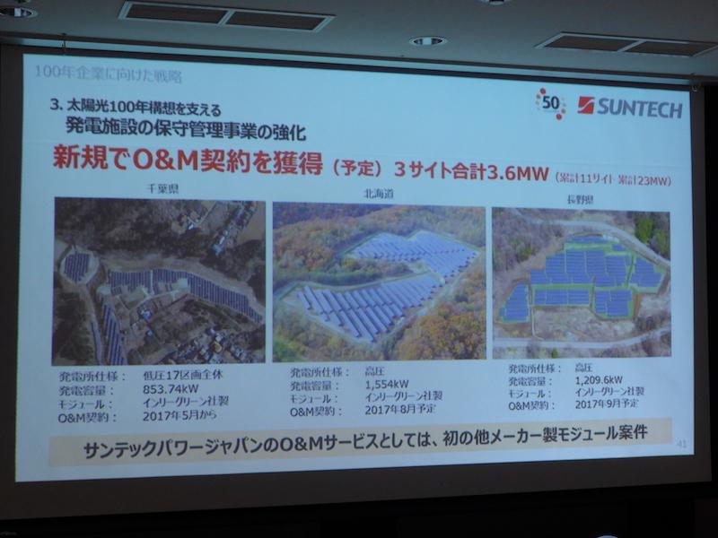 新規で3サイト合計3.6MWのO&M契約を獲得予定