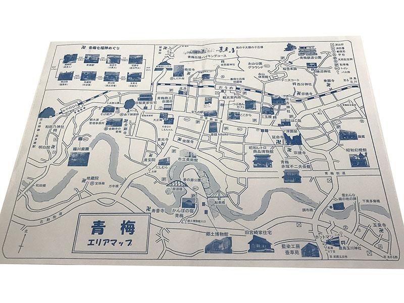 「青梅エリアマップ」には青梅駅周辺の主な観光スポットが紹介されています