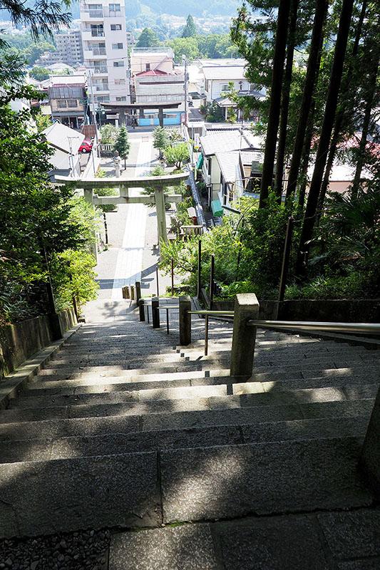 鳥居をくぐって石段を上がると拝殿に続く参道に。ふぅはぁ。なかなか良い眺め。はぁはぁ