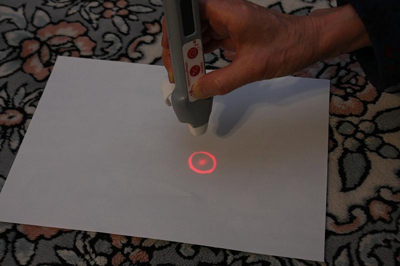 正しい距離と角度だとキレイな円が表示される。この園の中に瞳が入るように狙いをつけてボタンを離す