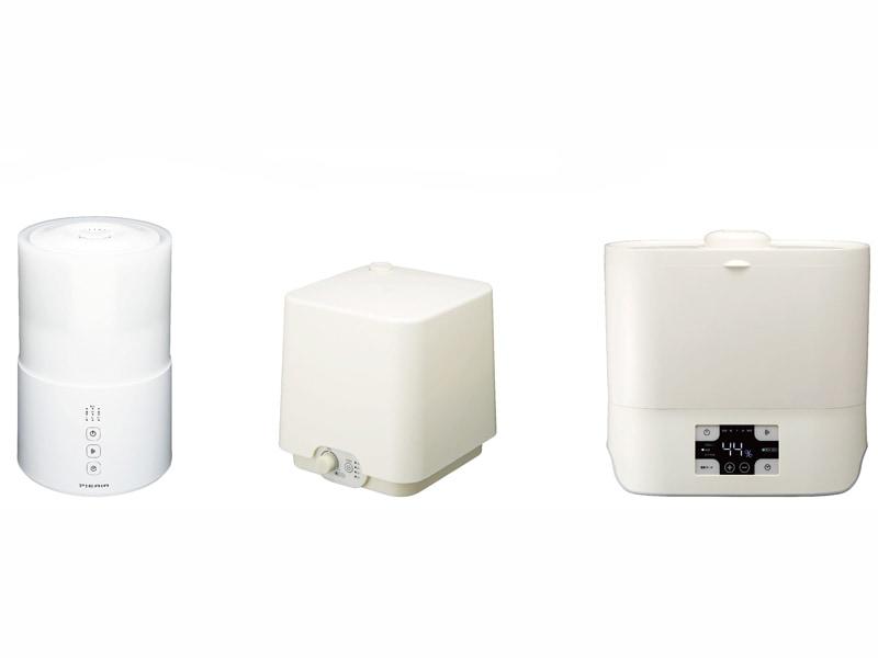 本体に直接給水できる加湿器3機種。左から、タンク容量約2.1Lの「上部給水型超音波加湿器 KWS-302/SWK-302」と、水タンク容量約2.7Lの「上部給水型超音波加湿器 KWS-303/KWS-3031/SWK-303/SWK-3031」と、水タンク容量約3.8Lの「上部給水型ハイブリッド式加湿器 KHS-602」