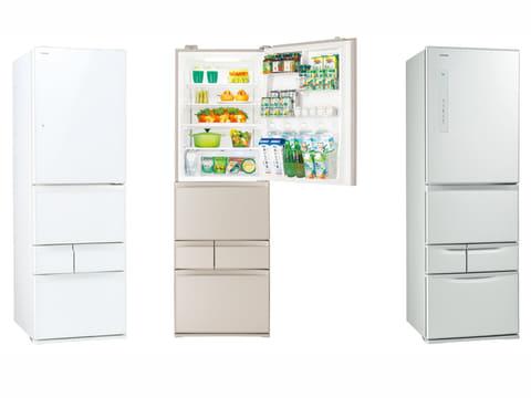 東芝、幅60cmで設置しやすいスリムな5ドア冷蔵庫「VEGETA」 幅60cmで設置しやすい容量411Lのスリムな5ドア冷蔵庫「VEGETA」2製品。左から、ドア材にフラットな強化処理ガラスを採用した「GR-M41GXV」のグランホワイト、サテンゴールド、鋼板ドアを採用した「GR-M41G」シルバー