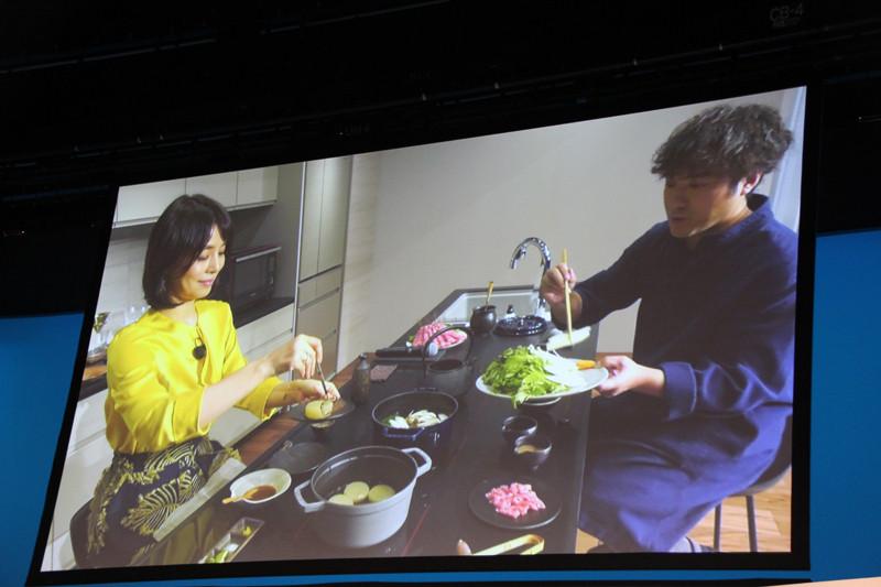 IH調理部はテーブルとしての機能も備え、人が集うキッチンを可能としている