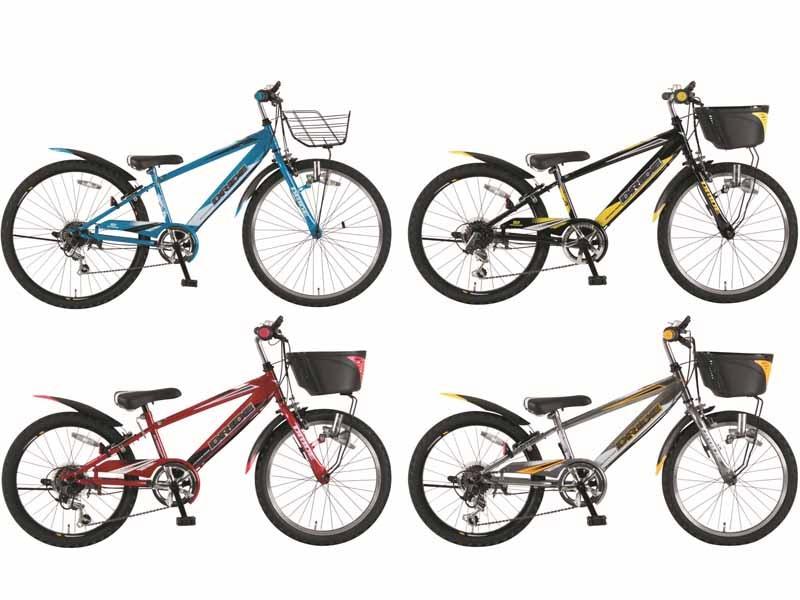 「スピードウォッチ」付きの子供向け自転車「DRIDE S3(ドライド エススリー)」。スカイブルー、ライトニングブラック、ダークメタル、レーザーレッドの4色を展開する
