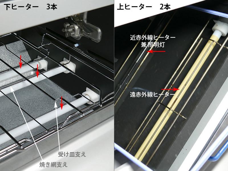 ヒーターは合計5本。モードによって発熱する組み合わせが変わる