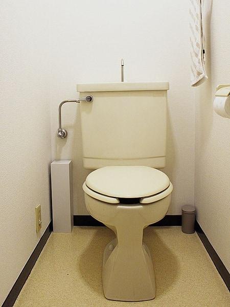 今回、取り付けを行うのアトリエのトイレは、TOTOロータンク式。ベージュのカラーと合わせて、ビューティ・トワレもベージュをセレクトした