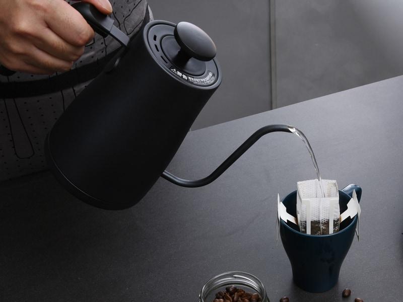 ドリップコーヒーが淹れやすいを細口ノズルを採用。湯量とお湯を注ぐスピードが調整しやすい