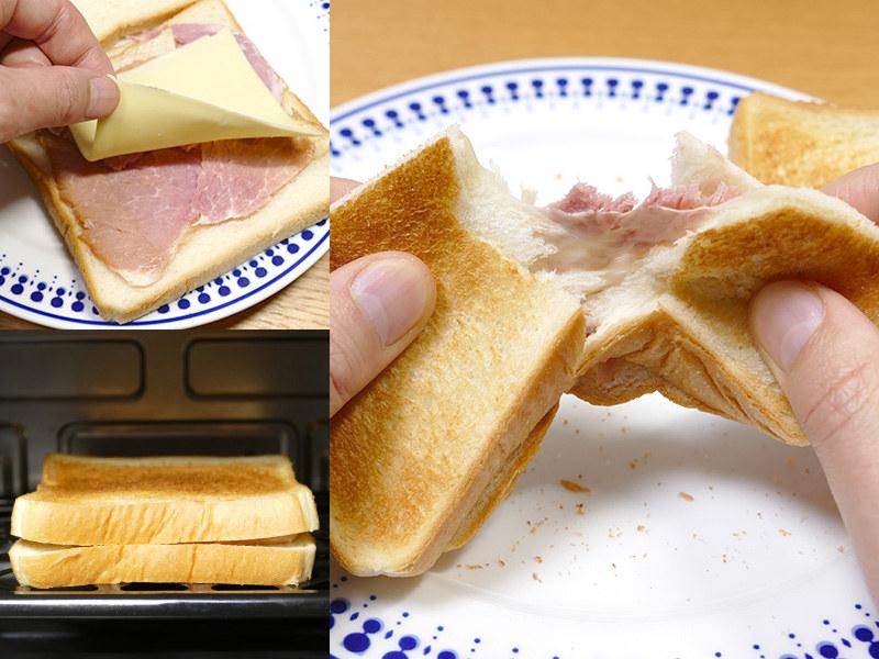 【ハムチーズトースト】パンにチーズとハムを挟み、網に乗せて焼くだけなのに、クセになるほど美味しい