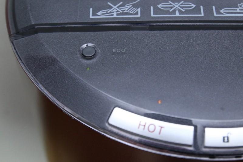 ECOボタンを押すと、給湯温度を70℃に下げるので電気代をカットできる