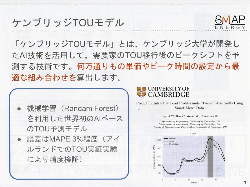 ケンブジッリ大学が開発したAI技術「ケンブリッジTOU(Time-Of-Use:時間帯別料金)モデル」を用いてピークシフトを予測する