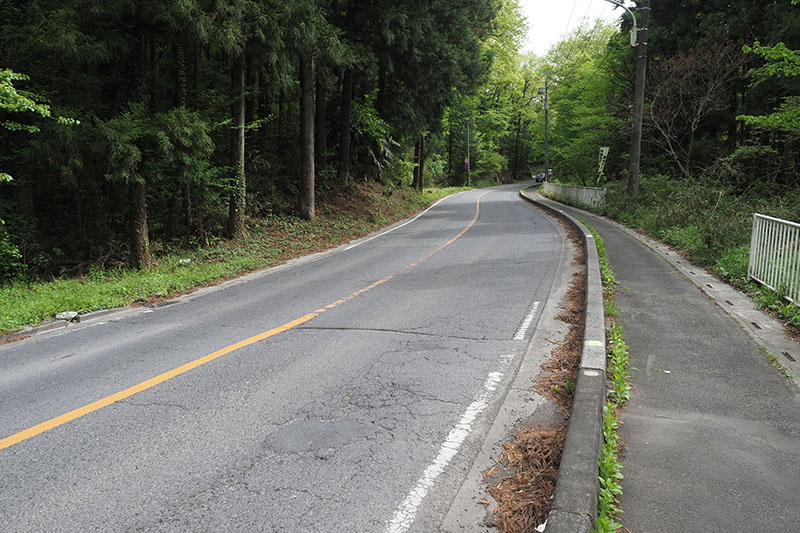 最初の丘陵越え。緩くない坂がダラダラと長く続く道です。普通のスポーツ自転車でも、越えるころはちょっと息が上がる感じ。CRUISEでもスピードを出して越えようとすると息が上がる感じですが、スピードを抑えつつ上れば「お喋りしながら上れる感じ」です。やっぱり電動アシストは頼りになる!