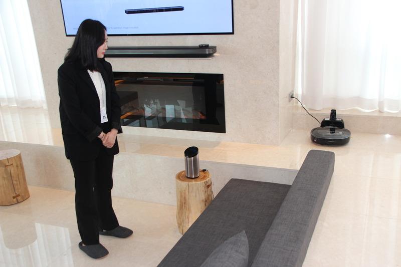 スマートスピーカーの音声操作でロボット掃除機の運転をスタートしてもらった。通訳機能も備える