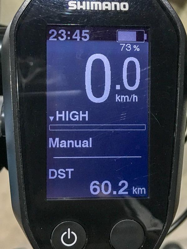 帰宅したときの状態。満充電の状態から編集部を出発し、HIGHモードで60.2km走った時点で残りのバッテリー残量が73%