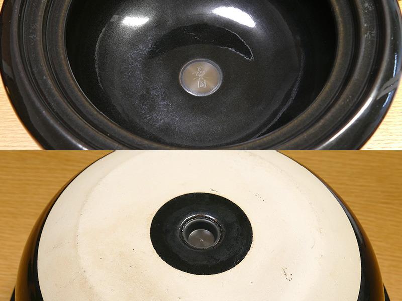 鍋内の温度を本体に伝える温度センサーが土鍋の底にある