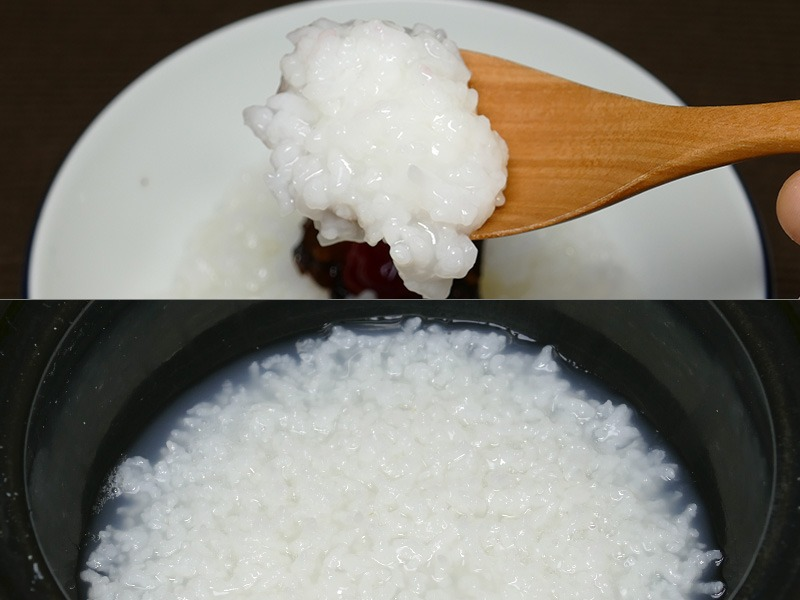 【おかゆ・白米】香り、甘さがしっかりと引き出されたふくよかなおかゆが簡単に炊きあがった。朝食にもいただきたい