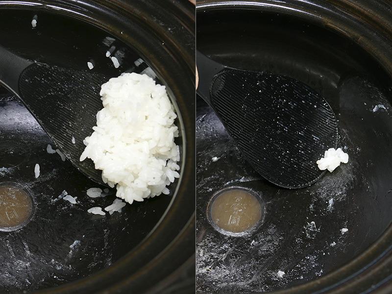時間を置いてもごはんがベタつかず、最後の一粒まで美味しくいただける。ごはん粒は潰さずにしゃもじですくえる。潰れたご飯粒ができにくいので、ラクにお手入れもできる