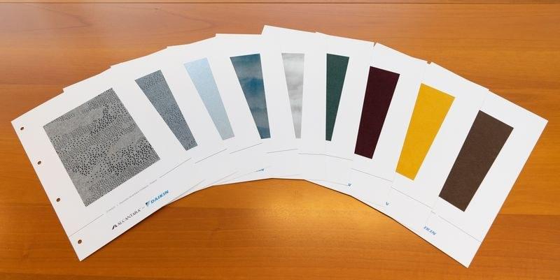スタイリッシュなエアコン「EMURA2」では、アルカンターラのテキスタイルとコラボレーションし、30カラーの提案をしている