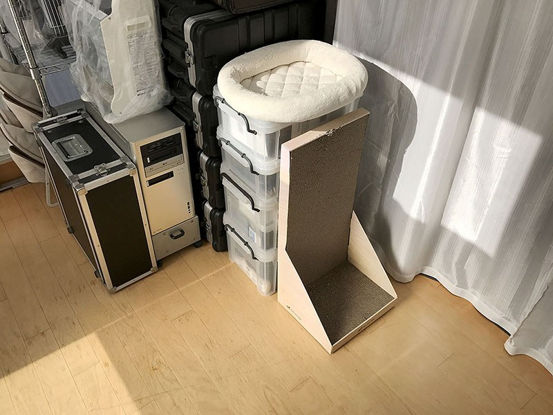 白いクッションが置いてあるところが「とろが以前はよく乗った寝床」です。左に見える箱づたいに乗っていた感じ