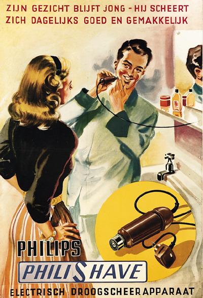 世界初のシェーバーは1939年のフィリップス製「Philishave」。いや~コレは時間がかかりそう。絶対に安全カミソリの方が早くて、よく剃れそう(出典:razorworld)